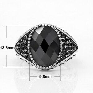 Image 2 - 925 srebro mężczyźni pierścień z czarnymi cyrkoniami kamienie Vintage Thai srebrny pierścień dla mężczyzn kobieta turecki biżuteria