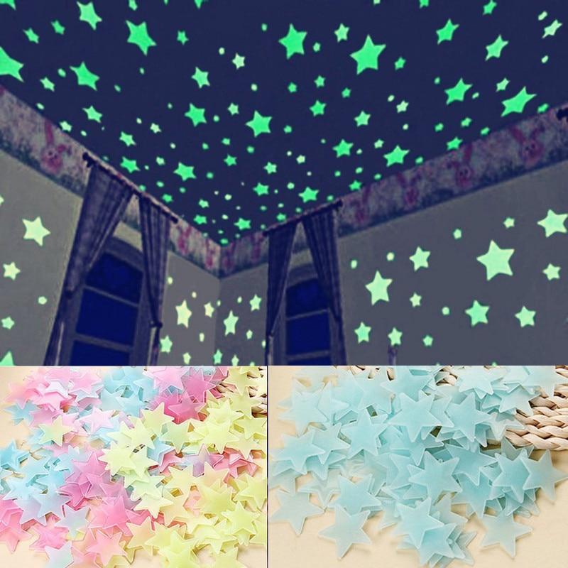 100 шт. флуоресцентные светящиеся в темноте звезды для детской спальни Светящиеся Настенные наклейки светящиеся звезды светящиеся цветные н...