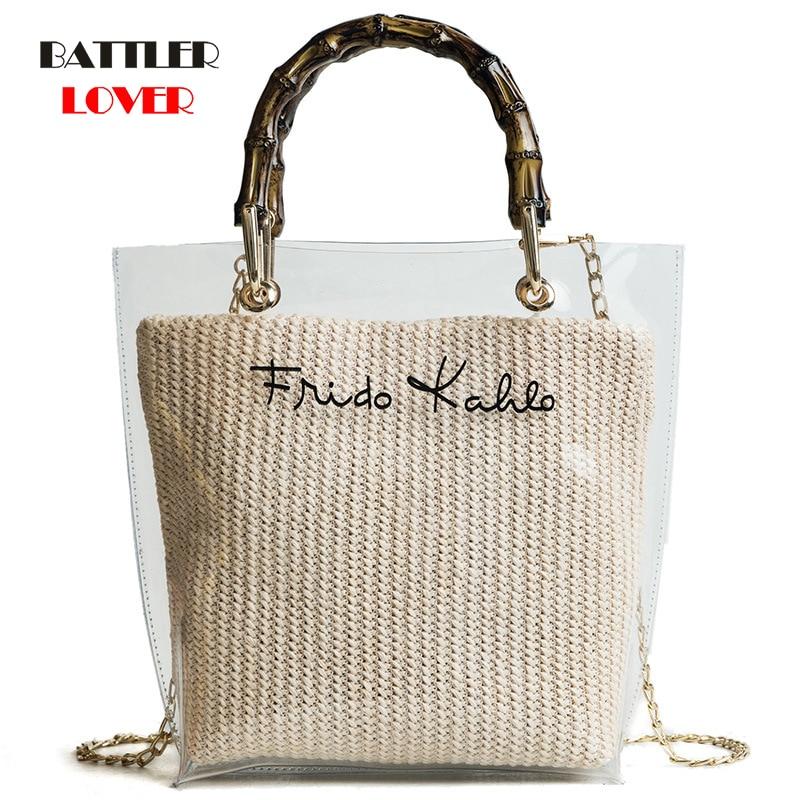 Bamboo Handle Straw Weave Handbag Women