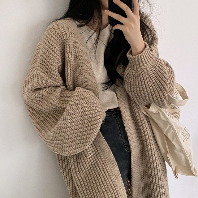 Sungtin Casual Long Knitted Cardigan Women Vintage Black Loose Sweater Coat Solid Oversized Jumper Outwear Autumn Winter 3 Color 2