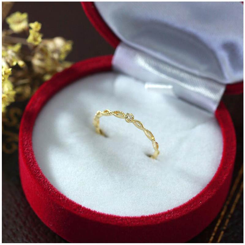 GZXSJG Natural Diamond Ring Genuine 9k Yellow Gold Anniversary Wedding Bands Jewelry Gemstone Rings For Women Girl
