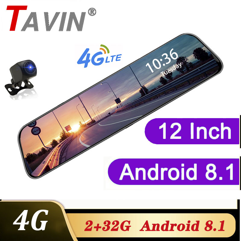 Video Recorder 4G 12 inch Dash cam Dual len rearview mirror Car dvr Android 8.1 ADAS Navigation Full HD Video registrar recorder image