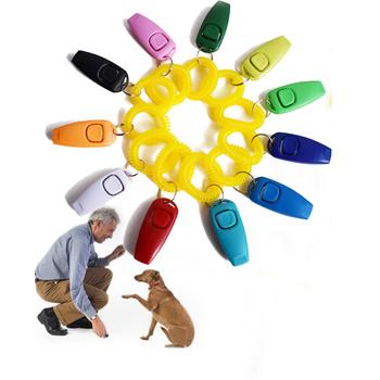 2 w 1 Pet szkolenia psów Clicker przenośny pasek na nadgarstek pies Pet Clicker trener lekki przewodnik pomocy gwizdek dźwięk klucz produkt dla psa tanie i dobre opinie panDaDa Gwizdki do przywoływania psa CN (pochodzenie) Training Clicker Z tworzywa sztucznego dog training equipment dog training Clikcer