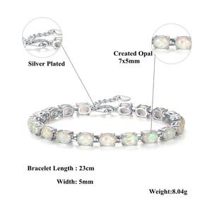 Image 5 - CiNily Blue & White Fire Opal Stone Chain Bracelets Silver Plated Oval Fine Link Bracelet Bohemia BOHO Summer Jewelry Woman Girl
