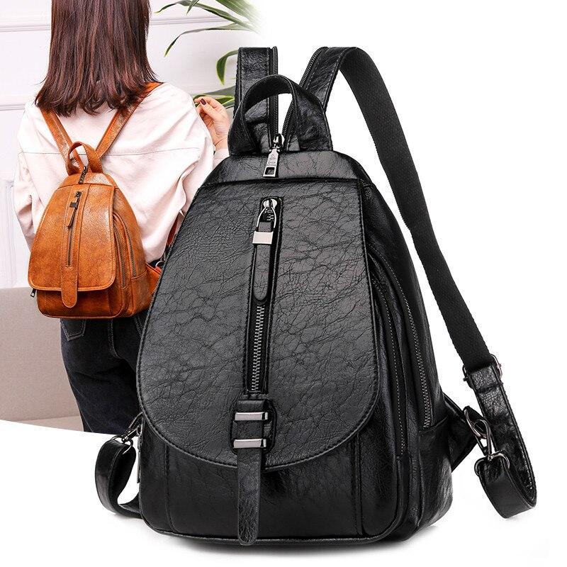 2020 New Women Backpack For Ladies Travel Back Bag Chest Shoulder Bag Casual High Quality Black Leather Female Backbag Mochila