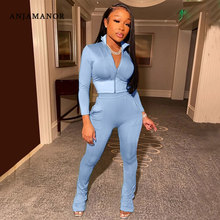 ANJAMANOR Solid Color Sporty Two Piece Set Long Sleeve Crop Top and Pants Cute Fall Outfits for Women Casual Tracksuit D49-CG47
