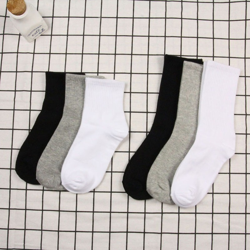 Black And White Solid Color Unisex Cotton Socks Women Jaoanese Harajuku Woman Socks For Spring 2 Length Casual Calcetines  1801