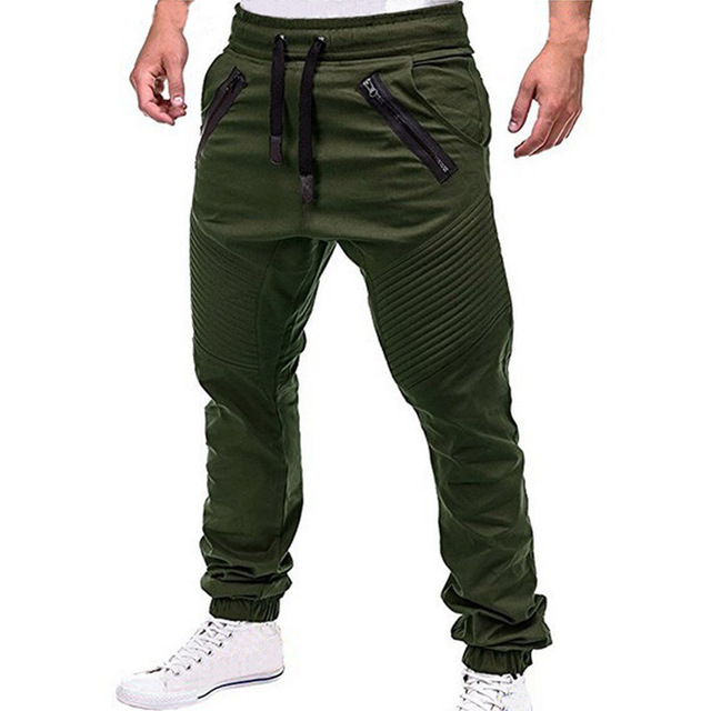 Men Casual Joggers Pants Solid Thin Cargo Sweatpants  4