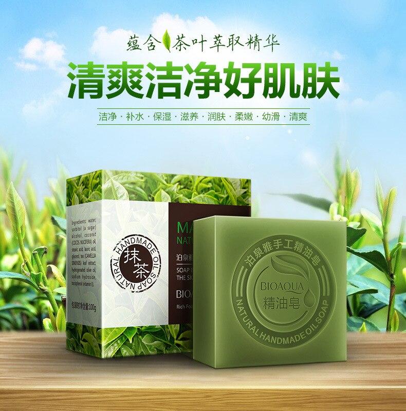 Купить с кэшбэком Skin Soap honey Green Tea Handmade Soap Whitening Moisturizing Face Cleansing Soap Remove Acne Cleansing Bath Bar Soap 80g