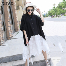 XITAO Black White Patchwork Dress Women Loose Fashion Casual