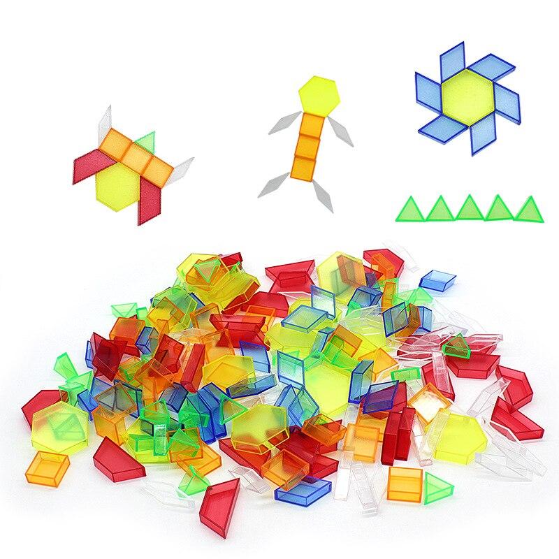 Детские игрушки Монтессори развивающие Обучающие игрушки прозрачные и красочные блоки геометрическая фигура