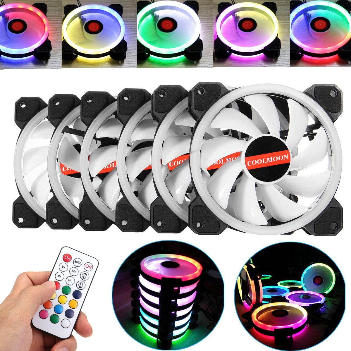 6pcs Computer Case PC Cooling Fan RGB Fan Cooling Adjust LED 120mm Quiet IR Remote Computer Cooler Cooling RGB Case Fan For CPU