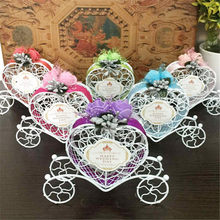Wedding Decoration 1PC Romantic European Creative Iron Heart Shape Pumpkin Carriage Wedding Candy Box Favor and Gifts Supplies