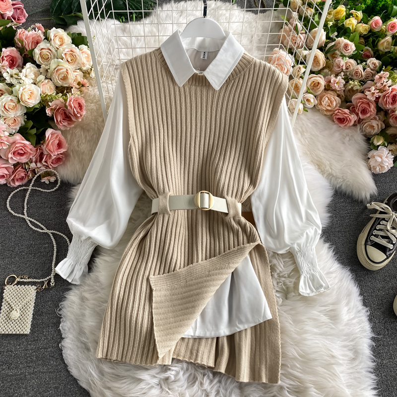 Vest Waistband-Vest Sleeve-Shirt Lantern Two-Piece-Sets Knitted College-Style Autumn