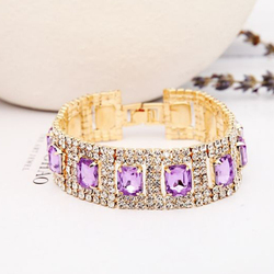 Gold Color Bracelets for Women Crystal Rhinestone Tennis Chain Link Bracelets Bangles Wedding Bridal Jewelry B021