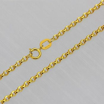 Solid 18K Yellow Gold Necklace 2mm Rolo Link Chain Necklace Stamped Au750 40cm-75cm 2