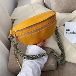 Burminsa Chic Design Woven Strap Chest Bags For Women Girl Mini Candy Colors Sling Bags High Quality Soft Shoulder Crossbody Bag