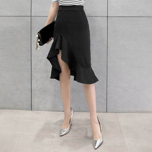 Fishtail-Skirt Flounce Irregular Knee-Length One-Step-Split High-Waist Fashion Women