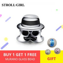 StrollGirl Mr A charms 925 sterling silverbeads with black enamel fit authentic European bracelet diy fashion jewelry for gifts