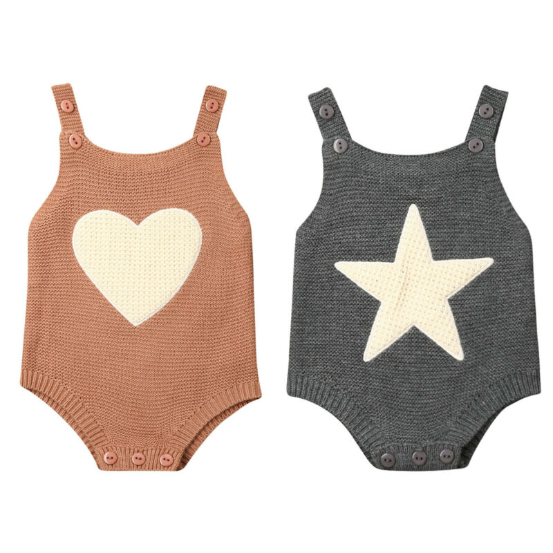 0-18M Newborn Baby Boy Girl Sleeveless Heart Star Knitted Bodysuit Jumpsuit One Pieces Warm Baby Clothes