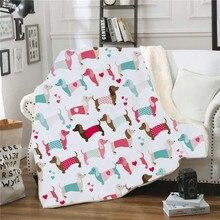Couverture de maison à motif teckel, couverture polaire chaude et épaisse pour adultes et enfants, couvre-lit doux pour l'hiver
