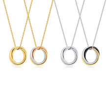 Collar de anillo entrelazado Triple para mujer y niña, colgante de acero inoxidable, joyería