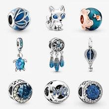 925 стерлингового серебра браслеты шарикового плетения оригинальный синий черепаха кулон в виде звезды, соответственные Пандоре обаятельны...