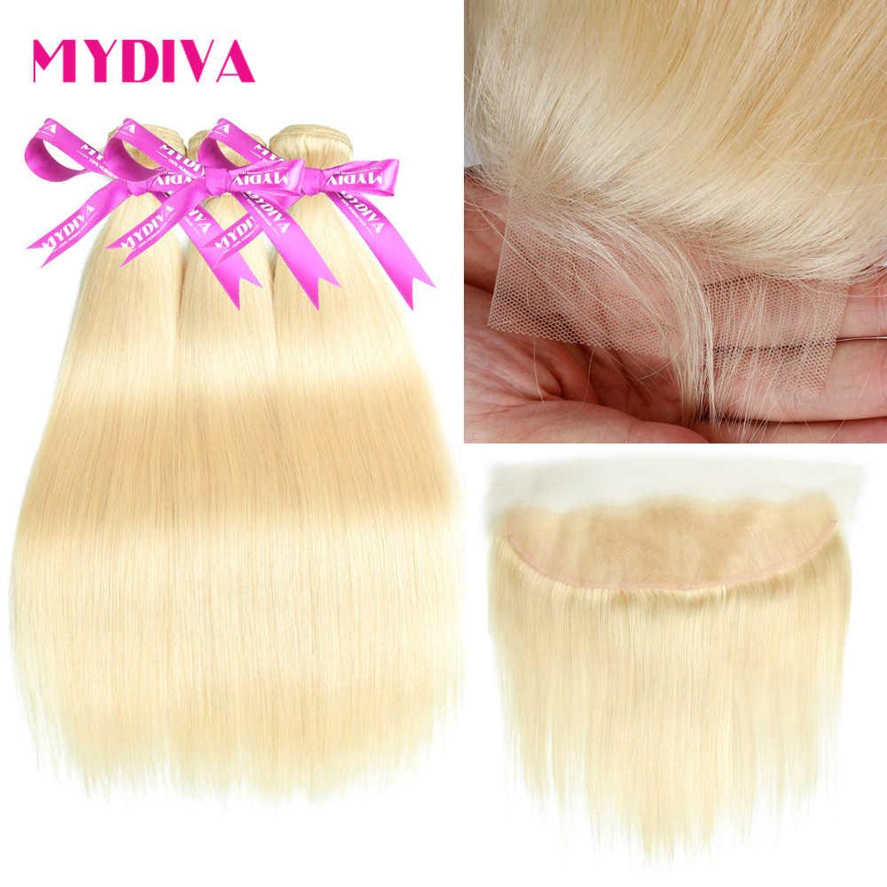 613 בלונד ברזילאי ישר שיער צרור עם פרונטאלית 613 פלטינה בלונדינית שיער טבעי 3 חבילות עם תחרה פרונטאלית רמי הארכת