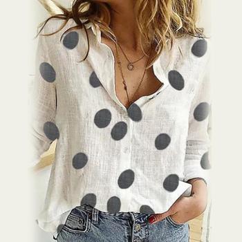 2020 Women Fashion Long Sleeve Marguerite Dot Star Print Office Shirt Blouse Top Women's Clothing блузка женская ropa mujer 1