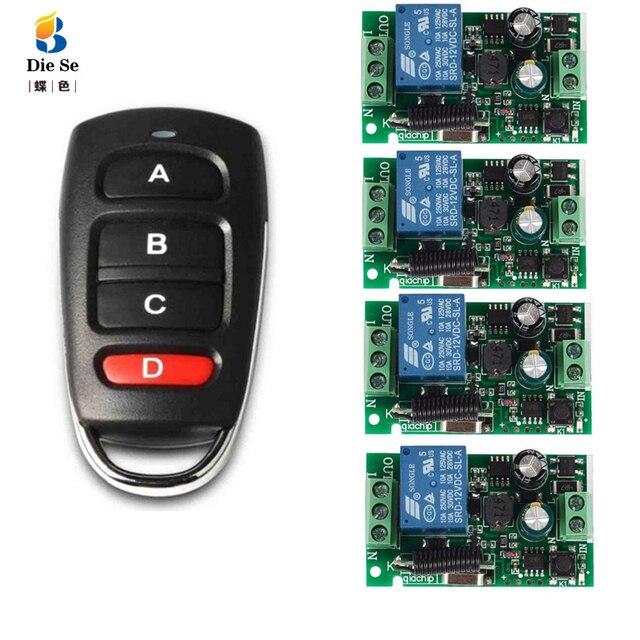 433 ميجا هرتز العالمي اللاسلكية التحكم عن بعد التبديل التيار المتناوب 85 فولت 250 فولت 4 CH التتابع وحدة الاستقبال 4 زر التحكم عن بعد ل المرآب التبديل