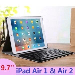 Image 1 - Coque magnétique amovible 9.7 pouces pour iPad Air 2 avec clavier A1474 A1566, étui amovible pour iPad Air 1 2 russe espagnol