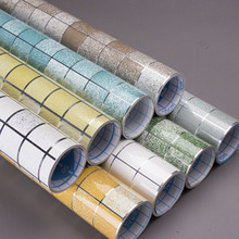 1Roll Waterproof Oil-proof Wall Paper Self adhesive Tile Wallpaper Aluminum Foil Stickers Scrub Mosaic Home Kitchen Decor Supply