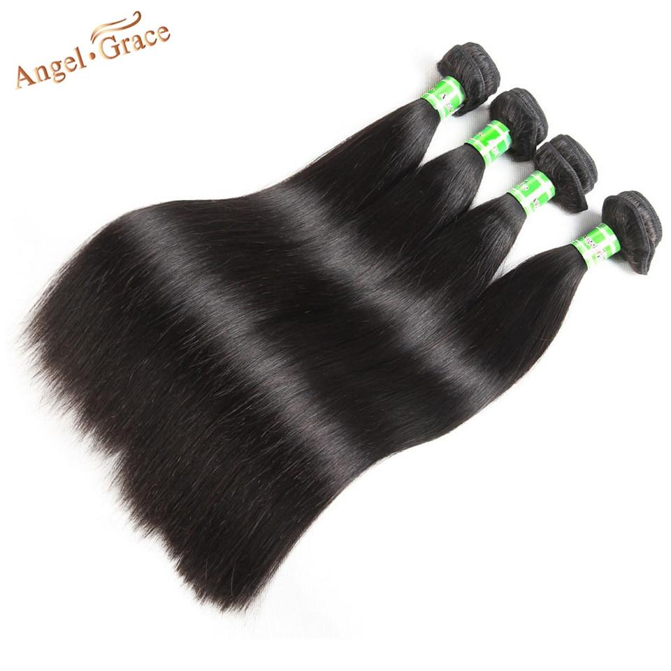 Ha9116fdd1de54729855721f64b35e2afX Angel Grace Hair Brazilian Straight Hair Bundles With Transparent/HD Lace Closure Remy Human Hair Weave 3 Bundles With Closure
