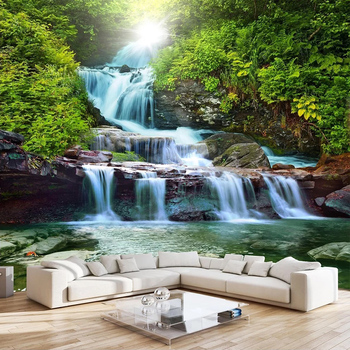 Waterfall Nature Landscape 3D Photo Wallpaper For Bedroom Living Room Sofa TV Background Papier Peint Custom Poster Wall Mural цена 2017
