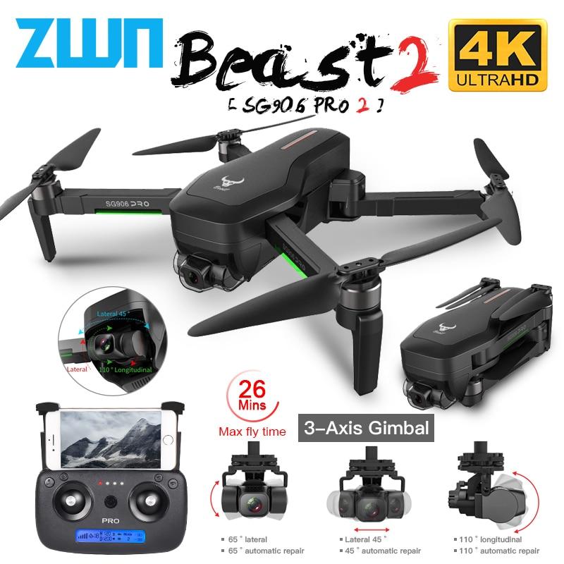 Zlrc sg906/sg906 pro 2 gps zangão com wifi fpv 4k câmera de três eixos anti-shake cardan brushless profissional quadcopter dron