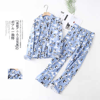 Cute white bear 100% brushed cotton women pajama sets Autumn Casual fashion sleepwear women homewear sexy pijamas mujer
