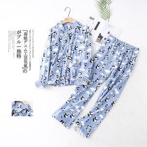 Image 5 - Śliczny biały niedźwiedź 100% szczotkowanej bawełny kobiety zestawy piżam jesień dorywczo mody bielizna nocna kobiety homewear sexy pijamas mujer