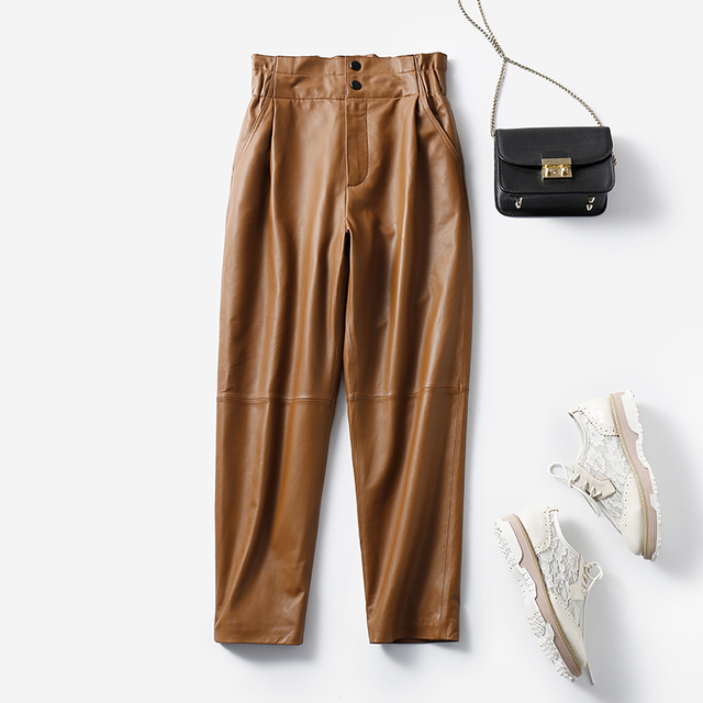 Genuine leather pants women winter 2020 new fashion elastic high waist pants women plus size  harem pants casual trouser female 2