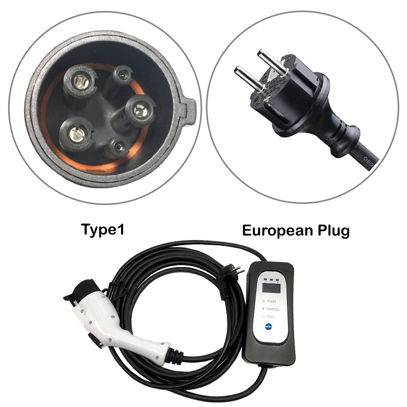 Image 2 - ev charger Type 1 J1772 with EU wall socket plug 5.5M EV cable level 2 AC mode 2 level 2 16A current changable!Chargers & Service Equipment   -