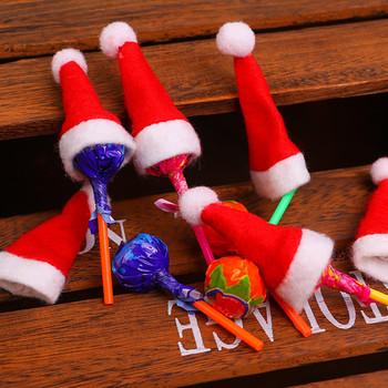 10pc boże narodzenie lollipop kapelusz dzieci czapki bożonarodzeniowe boże narodzenie włókniny mini czapki bożonarodzeniowe czerwony boże narodzenie kapelusz kapelusz dla św Mikołaja c50 tanie i dobre opinie CN (pochodzenie) Dla dorosłych COTTON Christmas hat