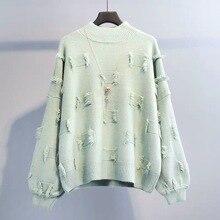 Mooirue Autumn Winter Tassel Sweater Women Casual Streetwear Round Neck Solid Pullovers Loose Korean Style Sweaters