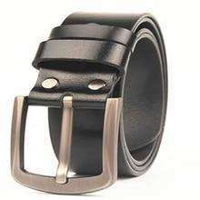 The first layer of leather belt leather pin buckle fat man lengthening belt men's pants belt width 3.8 cm