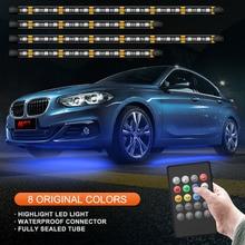 4 Pieces 252 LED Car Underglow Flexible Strip RF Voice Remote Control Decorative Atmosphere Lamp Under Tube Underbody Light Kit цена