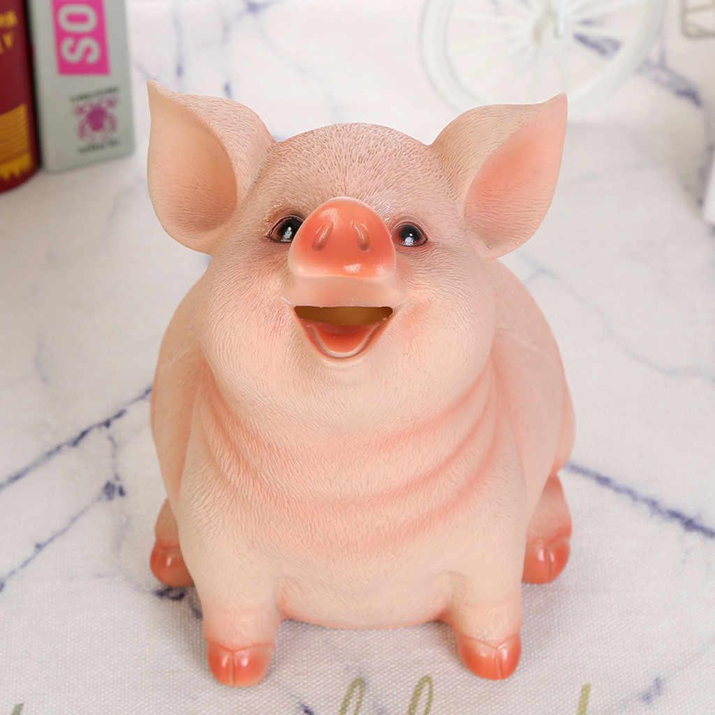 Mealheiro contador moeda resina artesanato moeda banco dinheiro porco em forma de caixa de poupança de dinheiro presentes caixa de brinquedo artesanato presente de natal para crianças