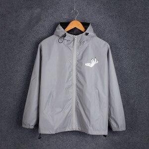 Image 3 - Mens Winter Fleece Warm Full Reflective Jackets Night Shiny Hoodies Women Hip Hop Waterproof Windbreaker Hooded Streetwear Coat