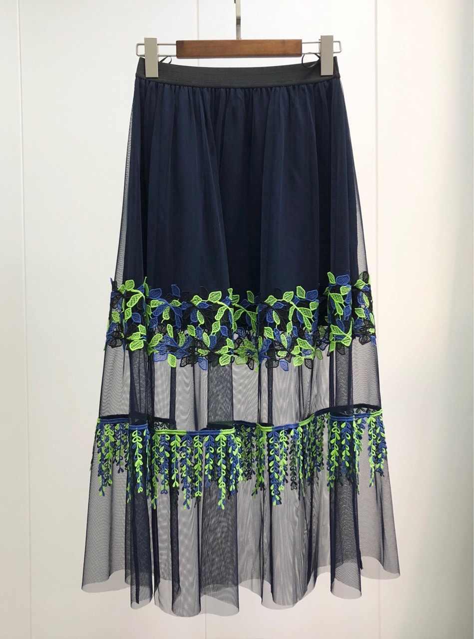 Kobiety spódnica koronki frędzlami spódnica wdzięku i światło w dwóch odcieniach z przeplotem koronki spódnica z elastyczną talią