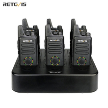 Retevis walkie talkie RT22S Mini, Radio de dos vías, 6 uds. + cargador de seis vías VOX, manos libres, Hotel/restaurante/supermercado