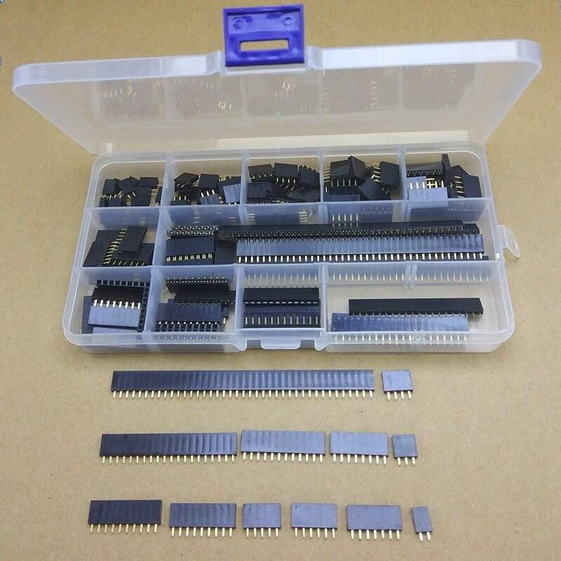 155 pçs/caixa 2.54mm única linha pino soquete fêmea encabeçamento conector 2/3/4/5/6/7/8/9/10/12/20/40pin pcb placa combinação kit