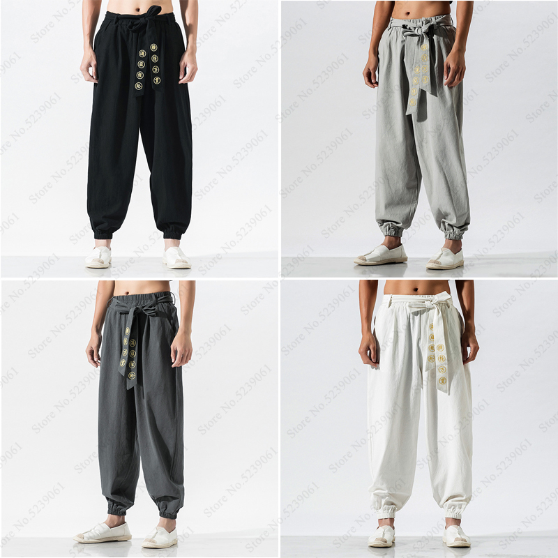 Harajuku Kimono Japanese Costume for Man Wide Leg Pants Casual Bandage Embroidery Loose Linen Trouser Male Harlan Haori Samurai