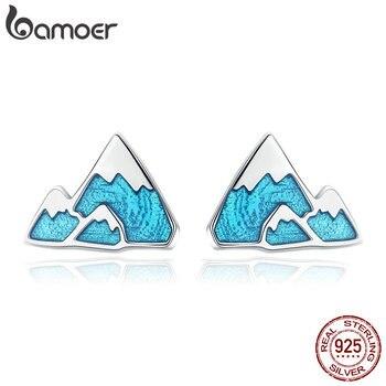 BAMOER Trendy 925 Sterling Silver Unique Iceberg Small Blue Enamel Stud Earrings for Women Jewelry Gift SCE475 - discount item  30% OFF Fine Jewelry